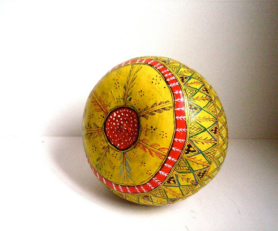 RESERVED for Ana  vintage hand painted gourd