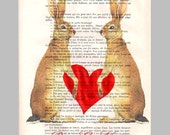 Your names and date with 2 Jackrabbits in love- ORIGINAL personalized ARTWORK Mixed Media on 1920 Magazine 'La Petit Illustration'
