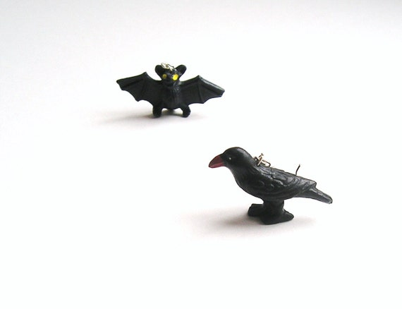 Bat and Raven Earrings / Mismatched Halloween Hoops / trendy kitsch/ spooky OOAK
