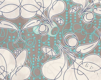 Fat Quarter Floral Sketch on Grey and Aqua Background, Kei Fabric, 100% Cotton Voile Fabric