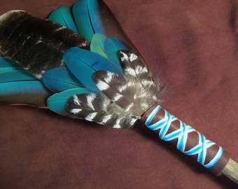 Smudge Fan-Rising Above - Sacred Prayer Fan with Wild Turkey and Macaw Feathers- Made to Order