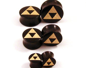 "Golden Tri Force Ebony Wooden Plugs - PAIR - 2g 6.5mm 0g 8mm 00g 9mm 10mm 7/16"" 11mm 1/2"" 9/16"" 5/8"" and up Wood Gold Triforce Ear Gauges"