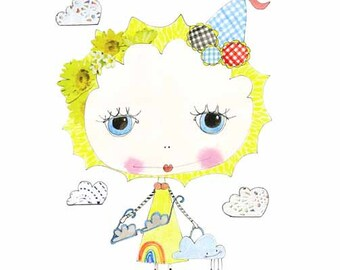Childrens Decor, Nursery Decor, Kids Art,  Sunshine Girl - Limited Edition 8x10 Print by Jennie Deane