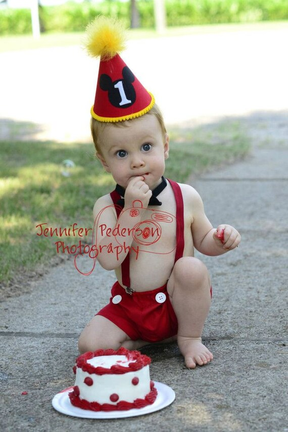 Mickey Mouse Shorts Baby / Boy Toddler Party Hat Bowtie & Boxers First Birthday Photo Cake Smash Outfit in Mickey Mouse Red and Yellow