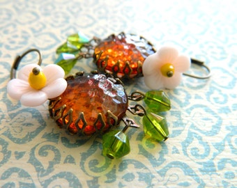 Flower Earrings, Pink, Amber, Topaz, Peridot Green, Vintage Earrings, Bohemian Earrings, Chandelier Earrings, Floral Earrings, Retro Jewelry