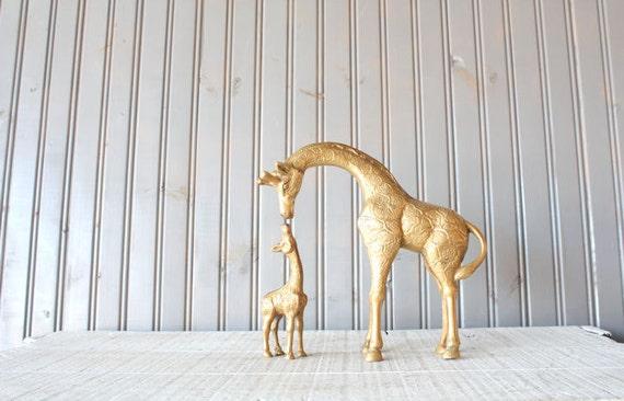 Brass Giraffe Pair // Mother and Baby