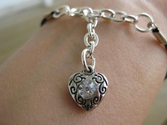 Black Braided Cotton Silver Garden Heart Bracelet, Silver Heart Bracelet, Black Bracelet, Black Cotton Bracelet