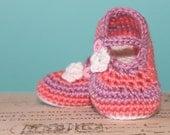 Instant Download - CROCHET PATTERN PDF - Crochet Baby Girl Striped Booties - Crochet Booties