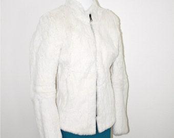 White rabbit fur jacket coat