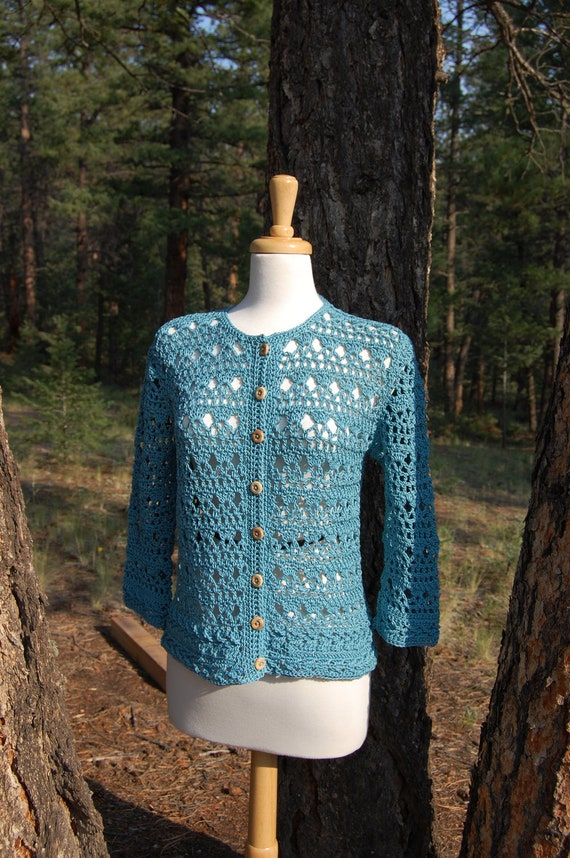 Impromptu Crochet Cardigan in Teal Cotton with Wood Buttons 3/4 Sleeve Size Sm/Med