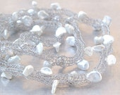 Keshi Pearls Wire Necklace - Hand-knitted from Stainless Steel Wire with White Saltwater Keshi Pearl Accents - Bridal - Women's Gift