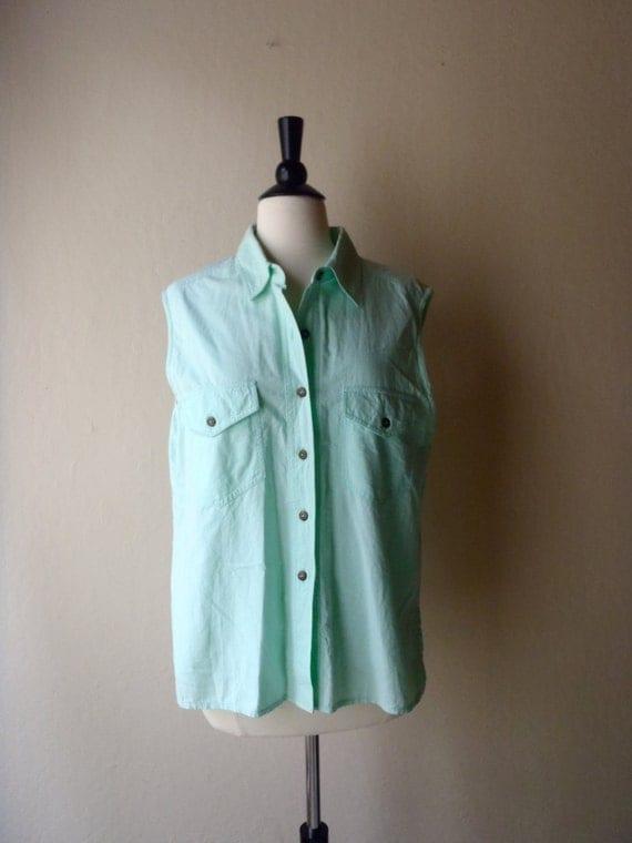 Vintage Mint Collared Shirt / Sleeveless Blouse