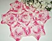 Crocheted Doily Pink Crochet doily Vintage Doilies Doilies Handmade Pink A366