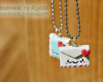 Envelope and Stamp Best Friends necklace set