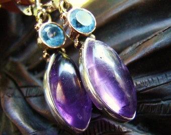 Sale Amethyst Blue Topaz Gemstone Earrings