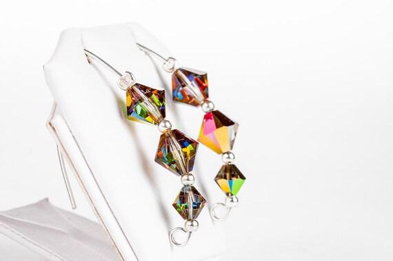 Xilion Crystal Earrings / Swarovski beaded dangling bridal rainbow xilion beads earrings