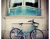 paris bicycle mint green photo - whimsical fine art photography, europe, building, bike, blue, turquoise - 5x5