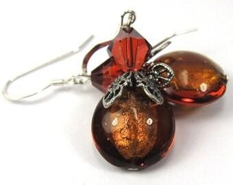 Topaz Venetian Glass and Crystal Copper Swarovski Earrings