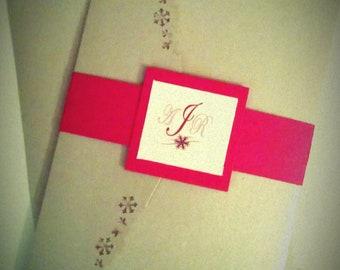 Silver and Red Snow Flake Pocket Fold Metallic Wedding Invitations