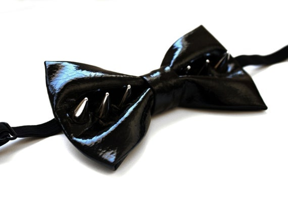 Spiked Patent Leather Bow Tie - Black