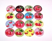 "Cute Cherry Cherries Set of 16 Buttons 1 Inch Pin Back Buttons 1"" Pins or 1"" Magnets"