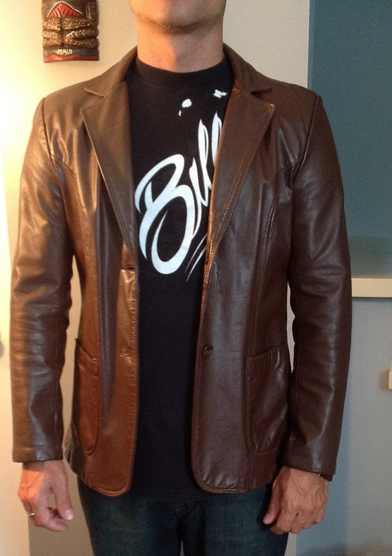 Image result for brown leather jacket 70s