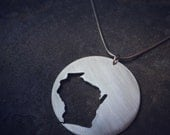 Reverse Wisconsin State Necklace--on SALE for the Holidays