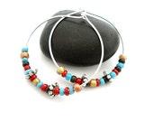 Silver Hoop Yoga Earrings, Red Blue Brown Silver Beaded Hoop Earrings