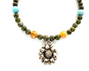 Sunflower Charm Bracelet, Green Jasper, Gemstone, Silver Sunflower Beaded Bracelet
