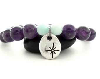 Amethyst Charm Bracelet, Amethyst, Blue Amazonite, Handmade Silver Charm Beaded Bracelet