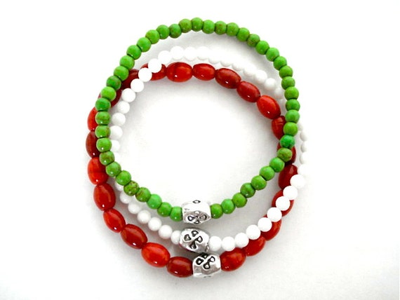 Set of 3 Yoga Bracelets, Red India Glass, White Opalite, Green Turquoise Howlite Beaded Bracelets