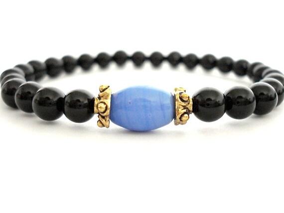 Onyx Meditation Bracelet, Onyx, Glass, Brass Beaded Bracelet
