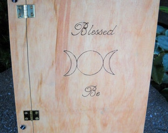 Blessed be wood burned Book of Shadows