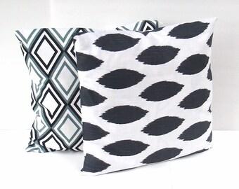 Grey & White Ikat designer Pillow Cover,  throw pillows, 18 x 18 grey couch pillows, pillow case, grey cushion cover - Premier Prints - grey