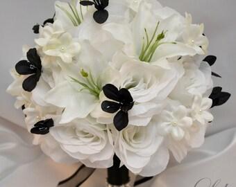 "17 Piece Package Wedding Bridal Bouquet Set Decoration Lilies Bouquets Maid Bride Silk Flower BLACK WHITE WINTER ""Lily of Angeles"" WTBK04"