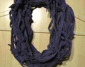 Purple Infinity Scarf / Necklace - Knotted Fleece