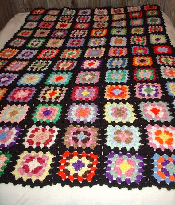 Rainbow Brite. Vintage Antique Crocheted Multi Color Granny Squares AFGHAN
