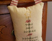 Christmas Tree  Pillow Primitive Folk Art Peg Knob Hanger