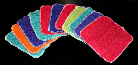 Reusable Cloth Wipes--Terry Cloth Washcloths--Set of 60--With Decorative Stripe--Tropical Colors--Perfect for Messes--READY TO SHIP