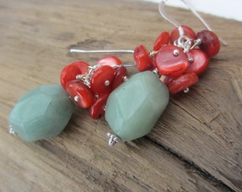 Green Aventurine and Coral Shell Cluster Earrings