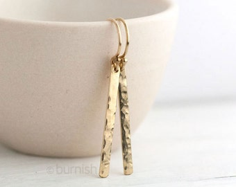 Slim Gold Earrings - Modern Minimal Gold Filled Minimalist Jewelry Gift - Hammered Gold Bar Earrings - by Burnish