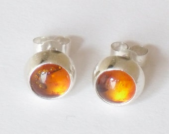 Amber Studs - Real 8mm amber cabochons set in silver