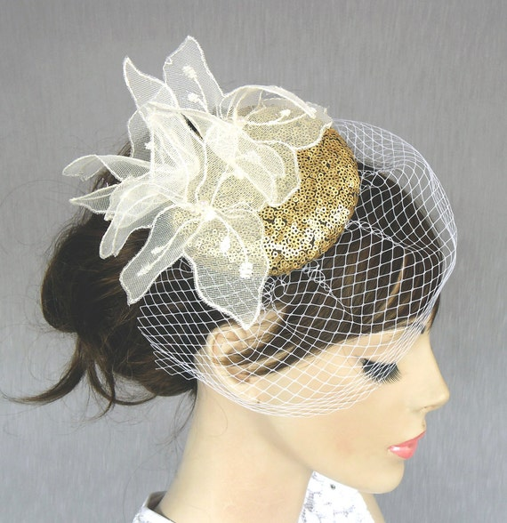 Weddings mini hat fascinator, bridal head piece, white tulle flower, gold sequined, handmade