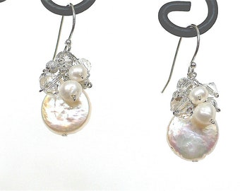 Bride/Bridesmaid's Freshwater coin Pearl and Swarovski Crystal Cluster Earrings