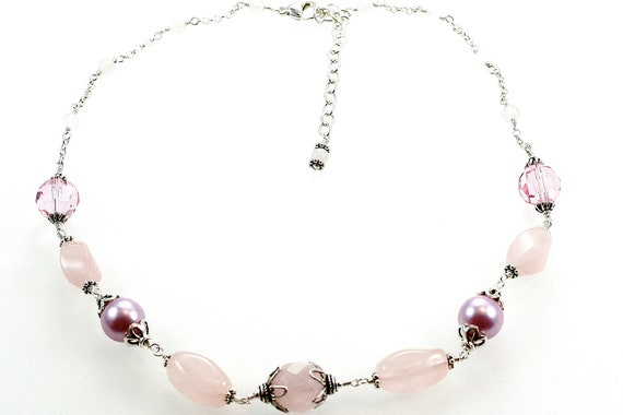 Pink Rose Quartz, Glass Pearl, Quartz and Sterling Silver Dazzler Necklace