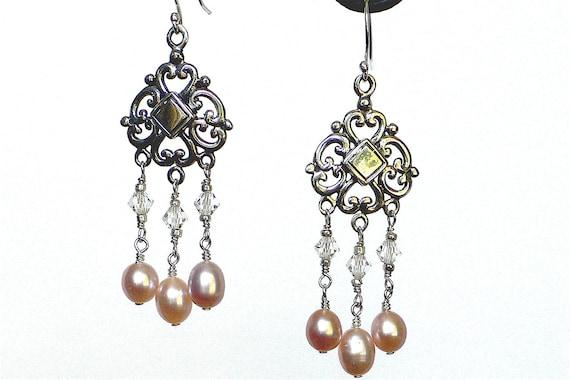 Sterling Silver Swarovski & Pearl Chandelier Earrings