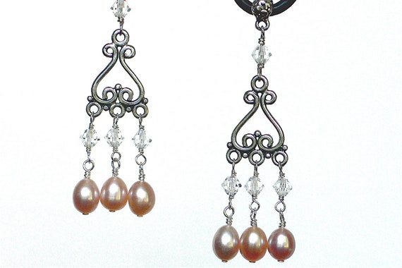 Sterling Silver Swarovski Crystal & Pearl Chandelier Earrings
