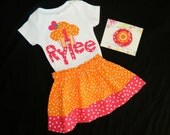 3 piece outfit - orange and hot pink polka dot and striped cupcake applique shirt personalized number and name, skirt, bow in sizes NB - 16