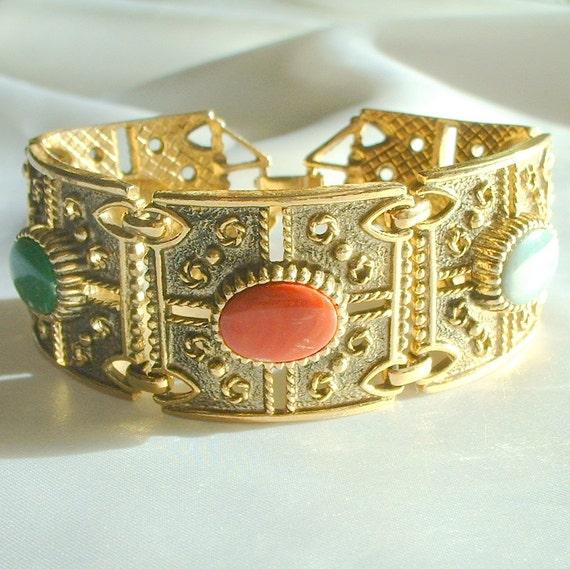 Vintage Saray Coventry Multi Color Cabochon Bracelet