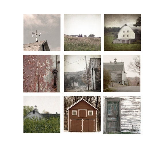 Barn Photography, Country Chic Home Decor Set Barn Photos, farmhouse, rustic brick red,cottage chic, barn, Sepia or Color, set of 9 photos
